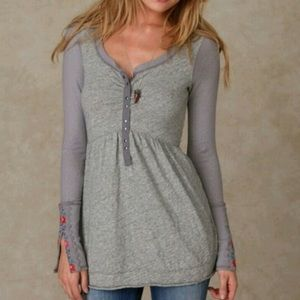 Free People Gray Babydoll Tunic Floral Cuff
